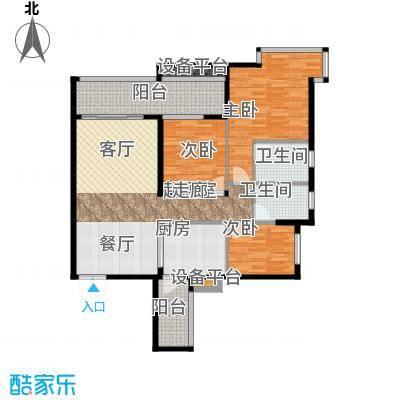 富盈东方华府三期紫峰111.70㎡户型3室2卫1厨