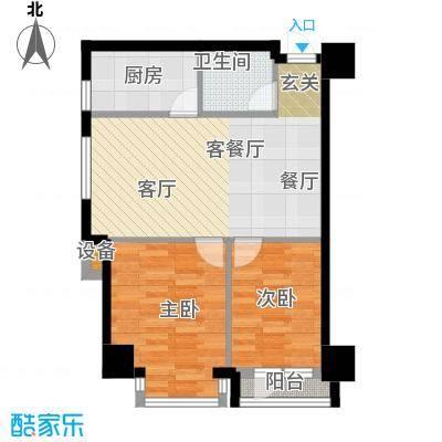 金州福佳新天地广场77.00㎡E户型 二室一厅一卫 77平米户型