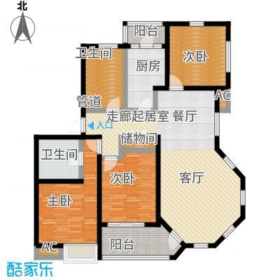 哈工大・慧海湾慧海湾户型图D7#楼 C户型 三室两厅两卫 面积:120㎡户型