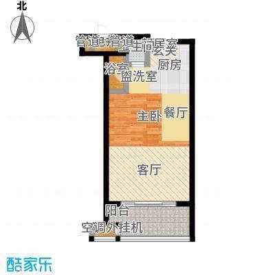 星河澜月湾47.81㎡B户型b1是47.81平米;b2是50.67平米;b3是47.19平米户型1室1厅1卫