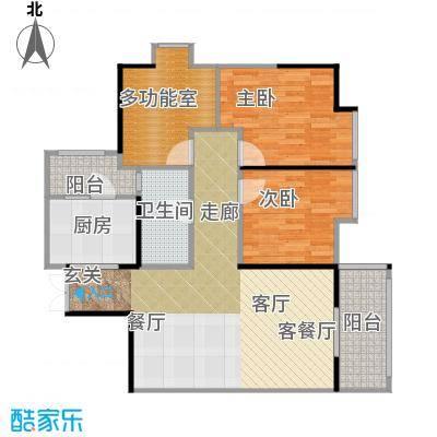 万荟时代88.00㎡户型2室1厅1卫1厨