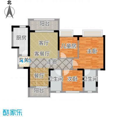名巨中央花园87.56㎡B户型3室1厅2卫1厨