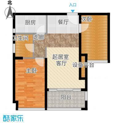 金达锦绣东方72.77㎡3/4/5栋02户型2室1卫1厨