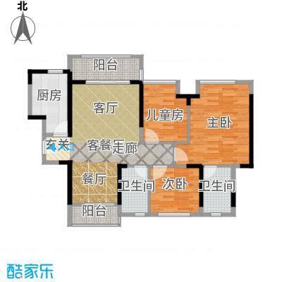 名巨中央花园78.00㎡1#02/2#01户型3室1厅2卫1厨