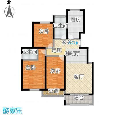 中国铁建・原香漫谷131.00㎡F户型三室两厅两卫131㎡户型3室2厅2卫