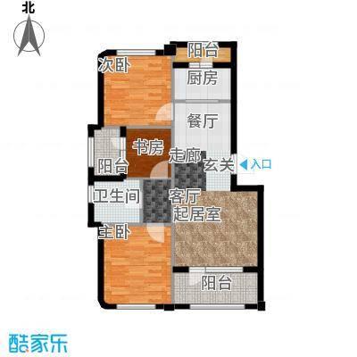 中冶蓝城87.00㎡三室两厅一卫87平米户型图X