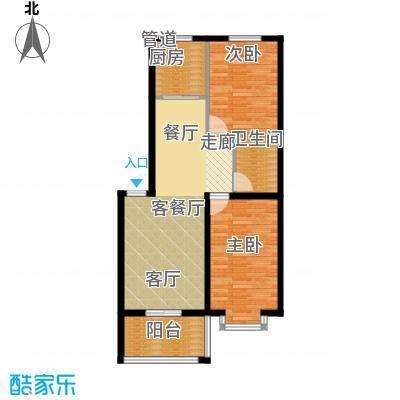 尚城花墅86.99㎡B1户型4号楼两室两厅一卫户型2室2厅1卫