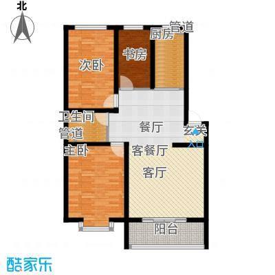 尚城花墅112.31㎡J户型6号楼三室两厅一卫户型3室2厅1卫
