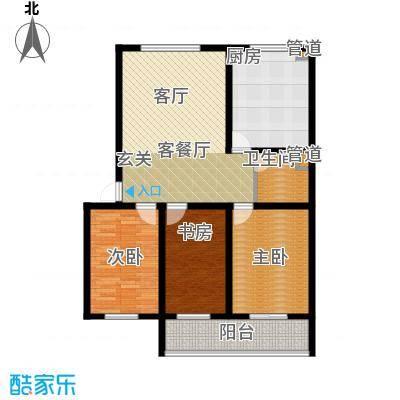 尚城花墅122.54㎡D户型2单元5号楼户型3室2厅1卫