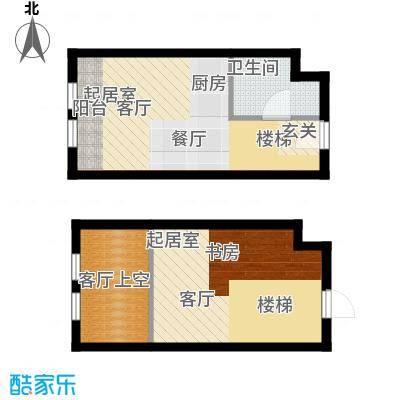 中海御湖翰苑D户型 45.53-47平米户型