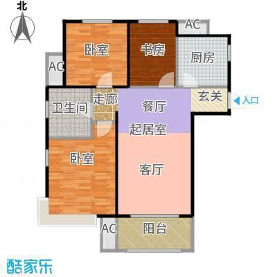 金隅满堂90.00㎡90㎡三室两厅一卫户型3室2厅1卫