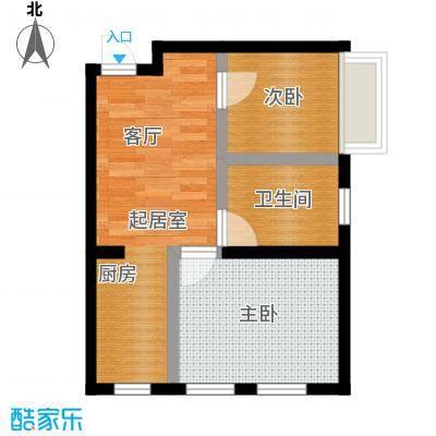 蔚蓝国际61.80㎡二室一厅一卫户型图户型2室1厅1卫