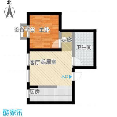 蔚蓝国际59.23㎡一室一厅一卫户型图户型1室1厅1卫