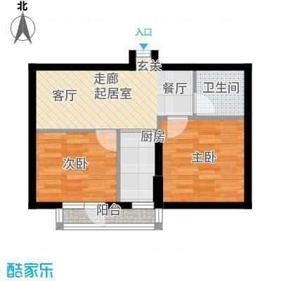 山海公园61.00㎡两房一厅一卫61平米户型图户型2室1厅1卫