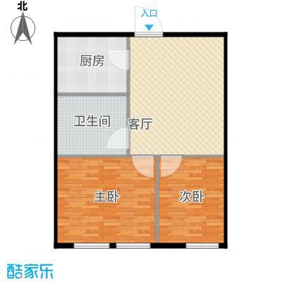 圣地秋实57.40㎡4、5号楼B1户型两室一厅一卫一厨57.4平米户型2室1厅1卫