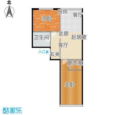 圣地秋实80.23㎡1、2号楼C2户型两室一厅一卫一厨80.23平米户型2室1厅1卫