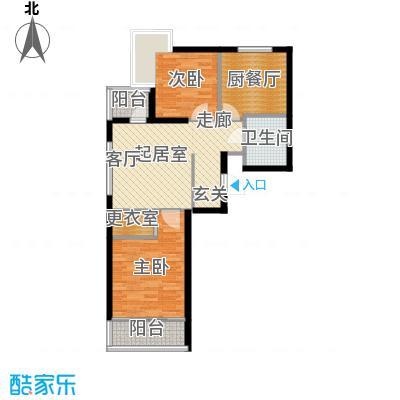 圣地秋实76.93㎡1、2号楼C1户型两室一厅一卫一厨76.93平米户型2室1厅1卫