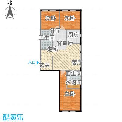 圣地秋实128.10㎡4、5号楼D1户型三室两厅两卫一厨128.1平米户型3室2厅2卫
