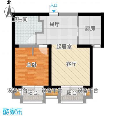 华润海中国65.00㎡6号楼D户型65平米户型图户型1室1厅1卫
