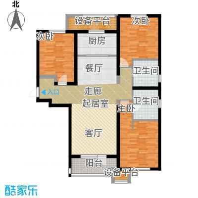 华润海中国138.00㎡6号楼G户型138平米户型图户型3室2厅2卫