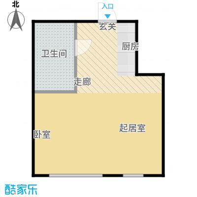圣地秋实42.66㎡1、2号楼A1户型一室一厅一卫一厨42.66平米户型1室1厅1卫