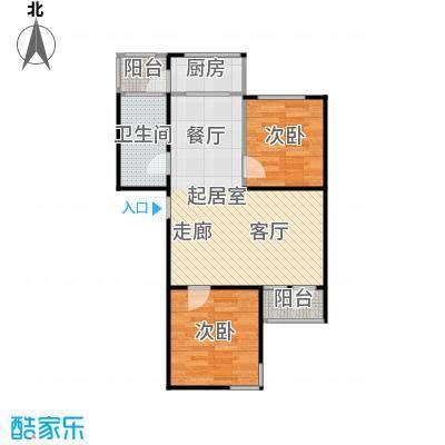 浪琴湾83.00㎡二室二厅一卫户型
