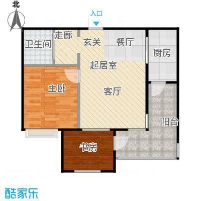 浪琴湾71.80㎡二室二厅一卫户型
