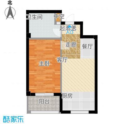 金湾又一城(一期)一室一厅一卫 面积48平方米户型