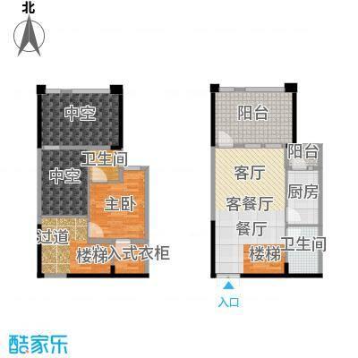 涪陵红星国际广场跃层户型1室1厅2卫1厨