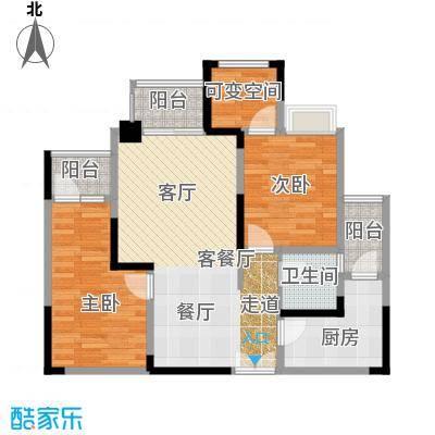 涪陵红星国际广场A5#-3户型2室1厅1卫1厨