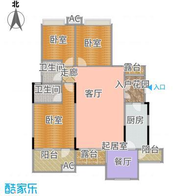 玮益上城华府133.56㎡上城华府一期三层户型3室2厅2卫1厨 133.56㎡户型3室2厅2卫