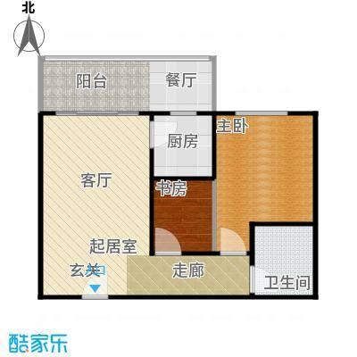 漓江明珠56.00㎡E户型 1房2厅1阳台户型