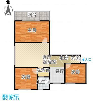 漓江明珠90.00㎡C户型:3房2厅1卫双阳台户型