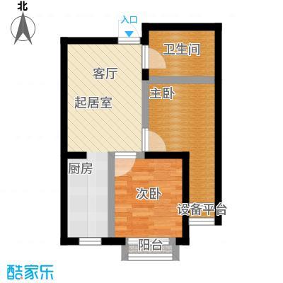 蔚蓝国际57.79㎡二室一厅一卫户型图户型2室1厅1卫