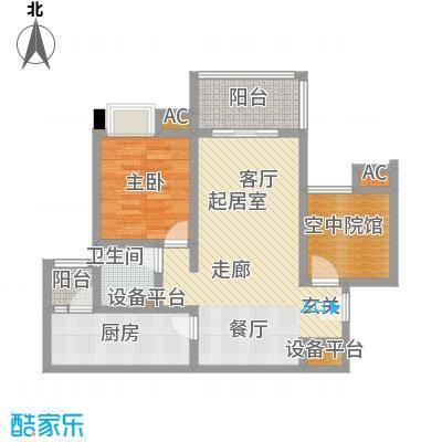 碧桂园翡翠城82.67㎡J599户型建面约82平米一室两厅一卫户型1室2厅1卫