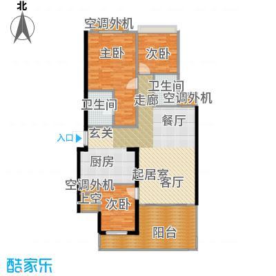 璧山金科中央公园城113.00㎡4.5.6幢 三层 三室两厅两卫 赠送面积14平米户型3室2厅2卫
