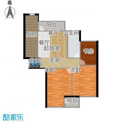 金广君悦山127.00㎡三室二厅一卫户型