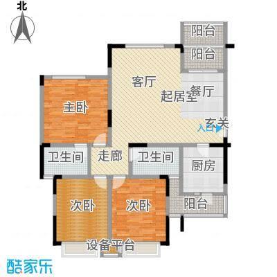 鸥鹏兰亭别院127.04㎡欧鹏兰亭别院 C6 3室2厅2卫1厨127.04㎡户型