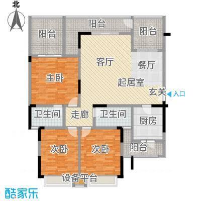 鸥鹏兰亭别院129.00㎡欧鹏兰亭别院 C5 3室2厅2卫1厨129.00㎡户型