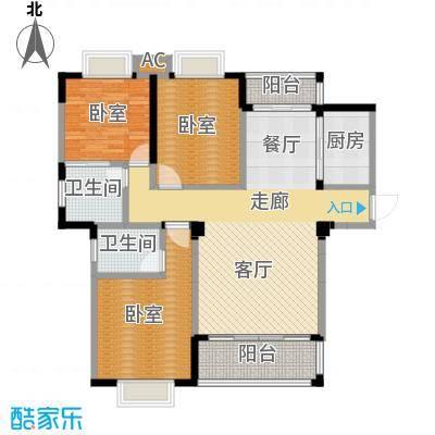 盛祥现代城123.15㎡15#A户型3房2厅2卫户型3室2厅2卫