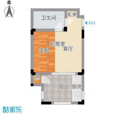 隆鑫花漾的山谷三期43.00㎡F1户型 建筑面积43㎡ 一室一厅一卫户型1室1厅1卫