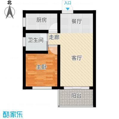 宏鑫锦江国际53.96㎡C区2# 1/2单元1房2厅1卫户型1室2厅1卫
