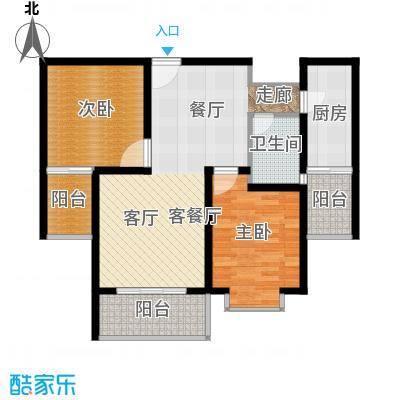 宏鑫锦江国际89.56㎡B区2#2单元2房2厅1卫户型2室2厅1卫