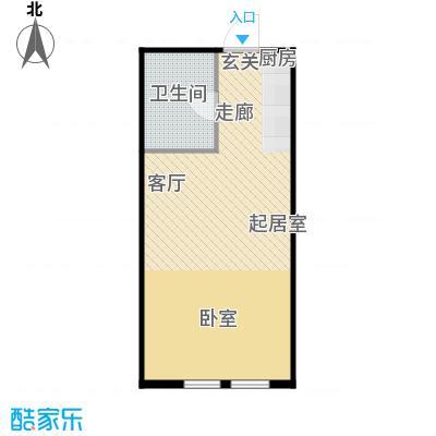 圣地秋实47.10㎡4、5号楼A2户型一室一厅一卫一厨47.1平米户型1室1厅1卫