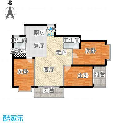 宏鑫锦江国际120.51㎡B区3#1单元3房2厅2卫户型3室2厅2卫