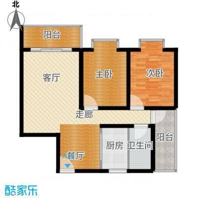 宏鑫锦江国际92.58㎡B区2#3单元2房2厅1卫户型2室2厅1卫