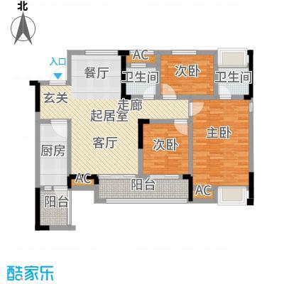 鸥鹏中央公园102.26㎡鸥鹏中央公园 B2户型3室2厅2卫