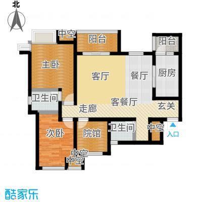 拓新御府101.44㎡B2三室两厅双阳台带院馆户型3室2厅2卫