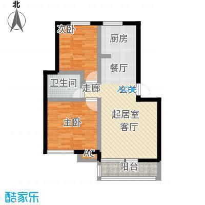 长城・都市阳光三期76.57㎡2室2厅1卫户型S