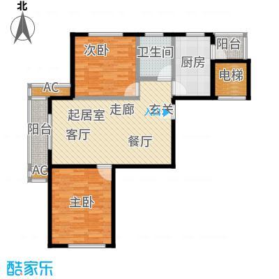 海湾壹号59.63㎡D1户型2室2厅1卫LL